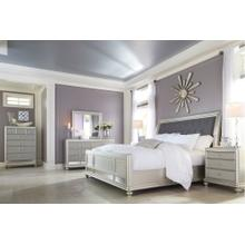 California King Upholstered Sleigh Bed With Mirrored Dresser