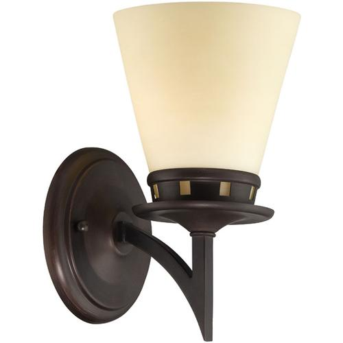 Wall Lamp, Aged Bronze/glass Shade, E27 Type A 60w