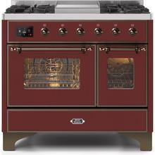 Majestic II 40 Inch Dual Fuel Natural Gas Freestanding Range in Burgundy with Bronze Trim