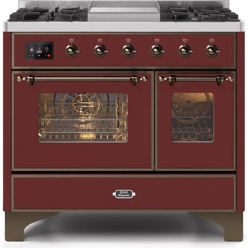 Ilve - Majestic II 40 Inch Dual Fuel Natural Gas Freestanding Range in Burgundy with Bronze Trim