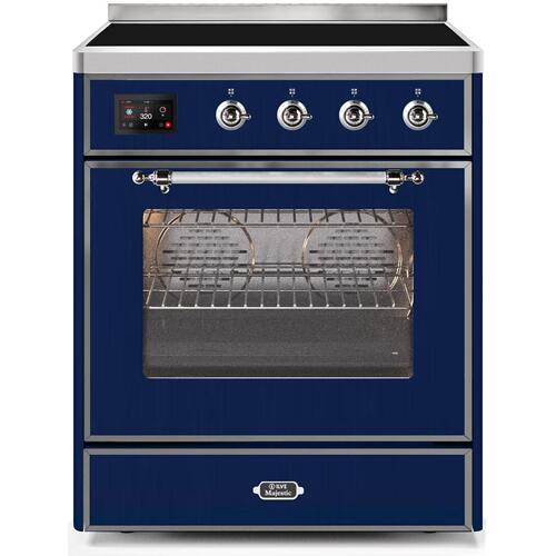 Ilve - Majestic II 30 Inch Electric Freestanding Range in Blue with Chrome Trim