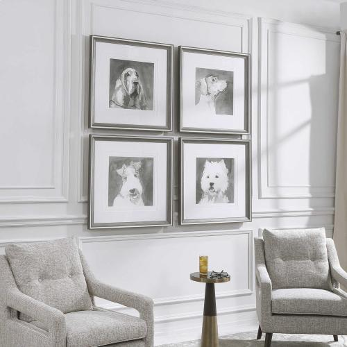 Modern Dogs Framed Prints, S/4