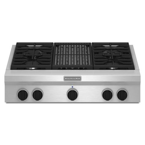 Gallery - 36-Inch 4 Burner with Grill, Gas Rangetop, Commercial-Style - Stainless Steel
