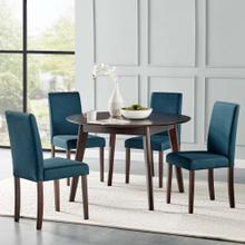 Prosper 5 Piece Upholstered Fabric Dining Set in Cappuccino Blue