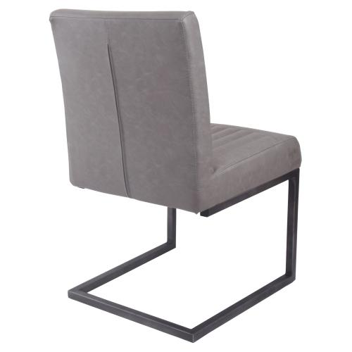 Ronan KD PU Dining Side Chair, Antique Graphite Gray
