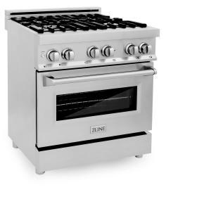 "Zline KitchenZLINE 30"" Professional Stainless Steel 4.0 cu.ft. 4 Gas Burner/Electric Oven Range (RA30)"
