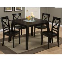 Roasted Java Square Dining Table With Crackled Glass Insert