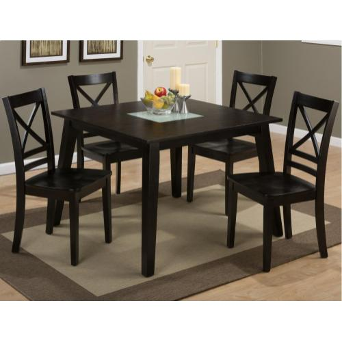 Jofran - Roasted Java Square Dining Table With Crackled Glass Insert