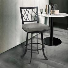 """View Product - Giselle Contemporary 30"""" Bar Height Barstool in Matte Black Finish and Vintage Grey Faux Leather"""