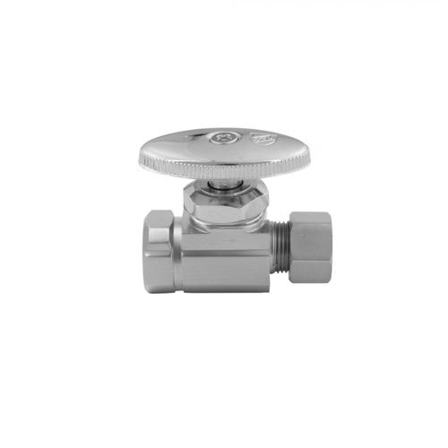 "Polished Brass - Multi Turn Straight Pattern 3/8"" IPS x 3/8"" O.D. Supply Valve with Oval Handle"