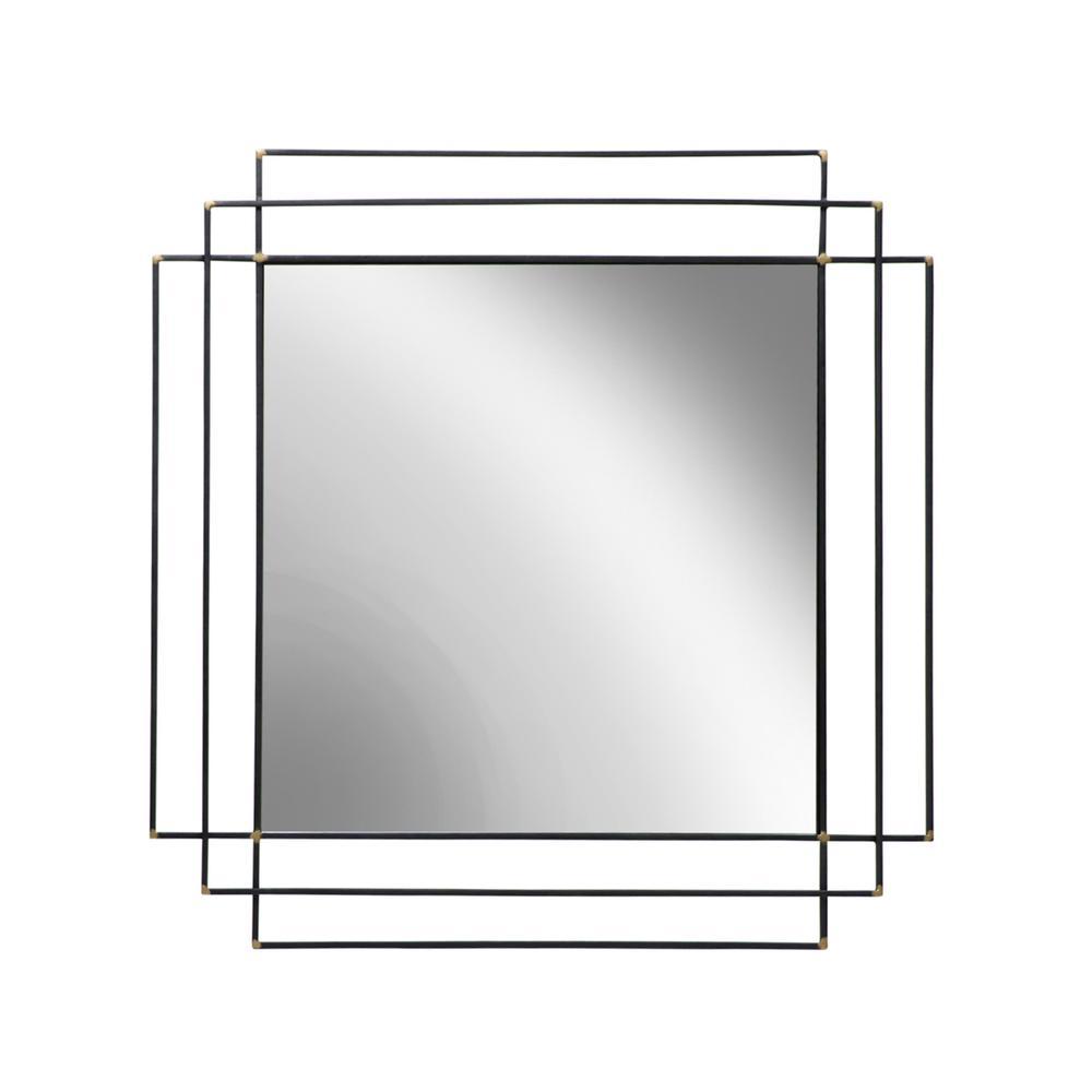 """See Details - Metal 32"""" Square Mirror, Black Wb"""