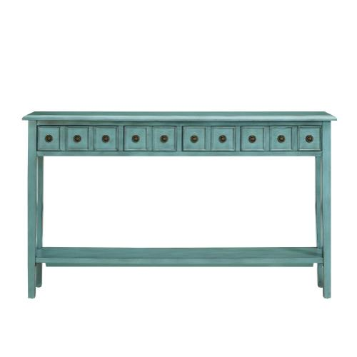 4 Drawer and Lower Shelf Long Console Table, Teal