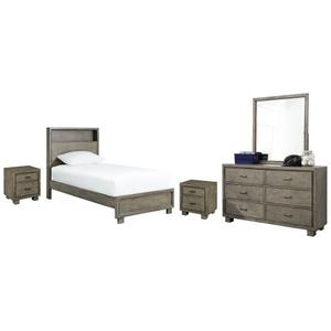 Full Bookcase Bed With Mirrored Dresser and 2 Nightstands