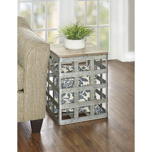 Top Open Storage Side Table, Galvanized