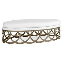 Gigolette Bronzed Stainless Steel Ottoman, Upholstered in COM by Distributor