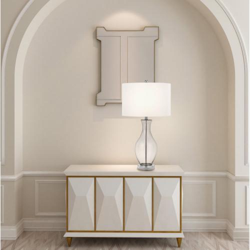 150W 3 Way Skye Glass Table Lamp With Fabric Shade