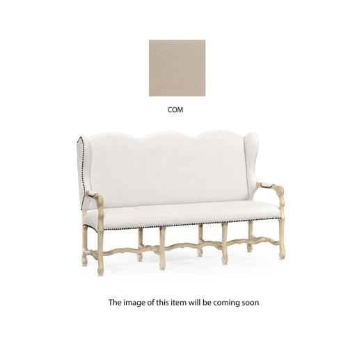 Three-seater bench in Limed Acacia, upholstered in COM