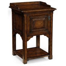 See Details - Elizabethan style dark oak bedside table