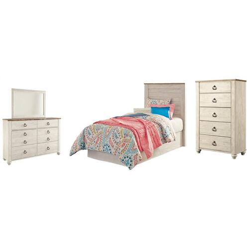 Product Image - Twin Panel Headboard With Mirrored Dresser and Chest