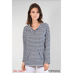 Nautical Button Up Pullover Top - XXL (2 pc. ppk.)