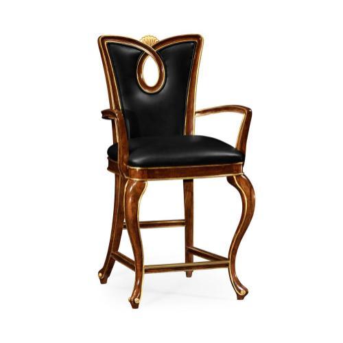 Mahogany brown counter stool (Arm)