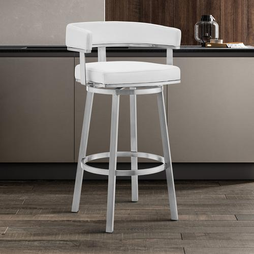 """Lorin 26"""" White Faux Leather and Brushed Stainless Steel Swivel Bar Stool"""