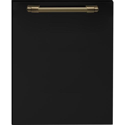 Dishwasher panel with handle Black matte, Bronze