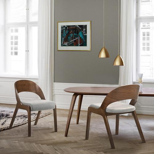 Polly Mid-Century Grey Upholstered Dining Chairs in Walnut Finish - Set of 2