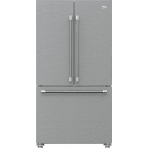 """Beko36"""" French Three-Door Stainless Steel Refrigerator with auto Ice Maker, Water Dispenser"""