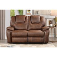 8083 BROWN Manual Recliner Air Leather Loveseat