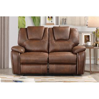 See Details - 8083 BROWN Manual Recliner Air Leather Loveseat