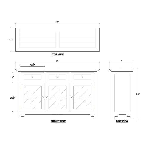 Aries 3 Door Sideboard w/ Glass Door