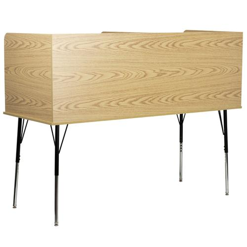 Flash Furniture - Double Wide Study Carrel with Adjustable Legs and Top Shelf in Oak Finish