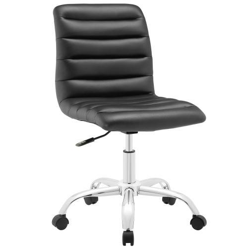 Ripple Armless Mid Back Vinyl Office Chair in Black