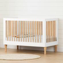 Baby Crib with Adjustable Height - Pure White and Exotic Light Wood