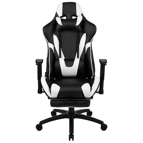 Gallery - X30 Gaming Chair Racing Office Ergonomic Computer Chair with Fully Reclining Back and Slide-Out Footrest in Black LeatherSoft