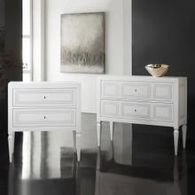 Milan Bedside-White Linen with Grey Accent