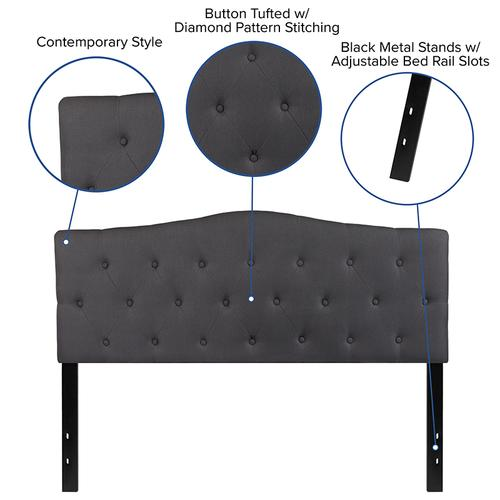Cambridge Tufted Upholstered Queen Size Headboard in Dark Gray Fabric