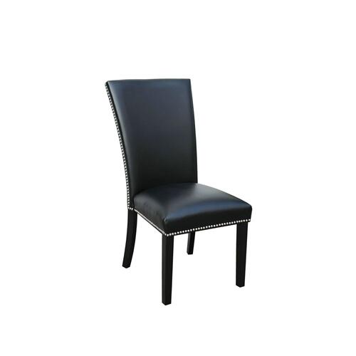 Camila Black PU Side Chair w/Nailheads