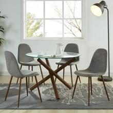 Rocca/Lyna 5pc Dining Set, Walnut/Grey