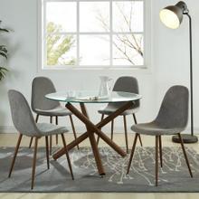 Rocca/Lyna 5pc Dining Set, Walnut/Grey