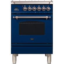 See Details - Nostalgie 24 Inch Dual Fuel Natural Gas Freestanding Range in Blue with Bronze Trim