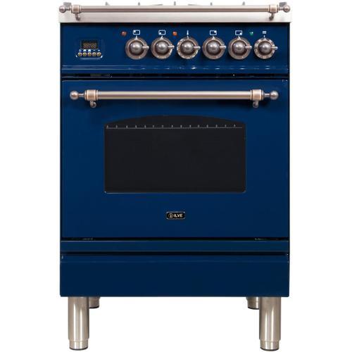 Nostalgie 24 Inch Dual Fuel Natural Gas Freestanding Range in Blue with Bronze Trim