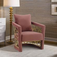 See Details - Corelli Blush Fabric Upholstered Accent Chair with Brushed Gold Legs
