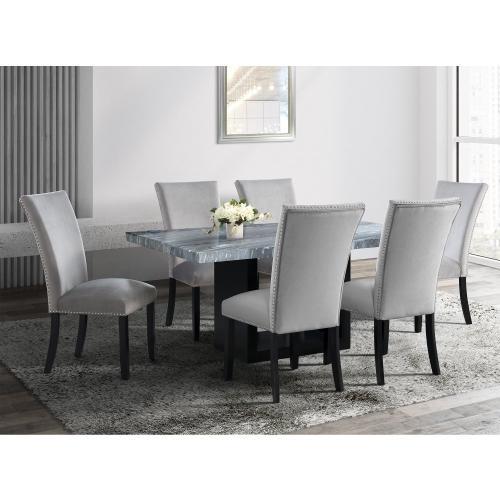 Valentino Grey Velvet Side Chairs