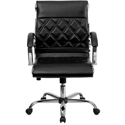 Gallery - Mid-Back Designer Black LeatherSoft Executive Swivel Office Chair with Chrome Base and Arms