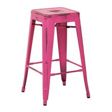 """See Details - Bristow 26"""" Antique Metal Barstool, Antique Pink Finish, 4 Pack"""
