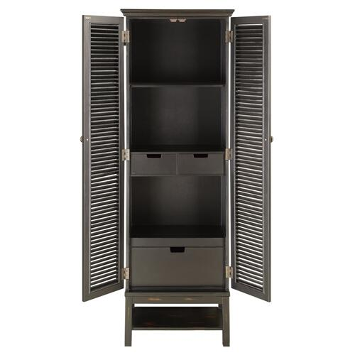 Crestview Collections - Wilmington Louvered Door Tall Black Cabinet