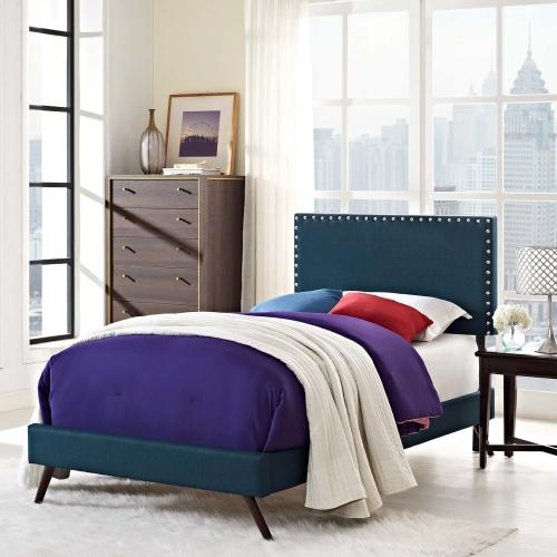Macie Twin Fabric Platform Bed with Round Splayed Legs in Azure