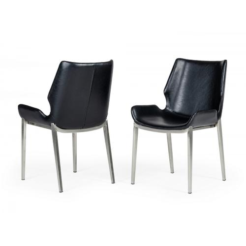 Modrest Tina - Modern Black Eco-Leather Dining Chair (Set of 2)
